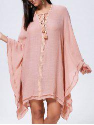 Lace Up Batwing Sleeve Oversized Kaftan Dress - CAMEO