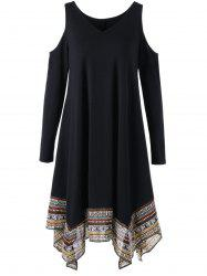 Cold Shoulder Tribal Handkerchief Dress - BLACK