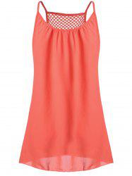 Spaghetti Strap Chiffon Mini Shift Dress - ORANGE RED