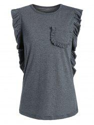 Casual Sleeveless Ruffle T-shirt - GRAY S