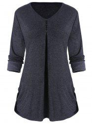 Side Ruched Long Sleeve Top with Buttons