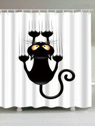 Waterproof Naughty Cat Printed Shower Curtain - WHITE AND BLACK