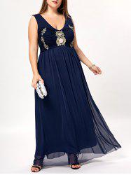 Plus Size Empire Waist Sleeveless Evening Dress