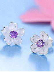 Faux Crystal Floral Shape Earring Jackets - PURPLE