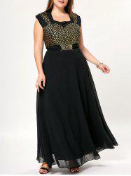 Bowknot Cap Sleeve Floor Length Plus Size Dress -