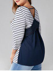 Plus Size Cut Out Lace Panel Striped Top -