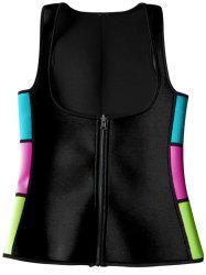 Color Block Neoprene Corset Vest - BLACK