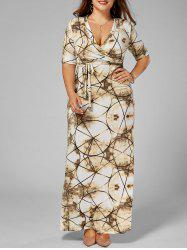 Plus Size V Neck Tie Dye Long Dress