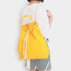 Drawstring Canvas Top Handle Backpack - YELLOW