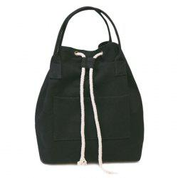Drawstring Canvas Top Handle Backpack - BLACK
