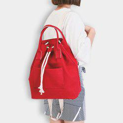 Drawstring Canvas Top Handle Backpack -