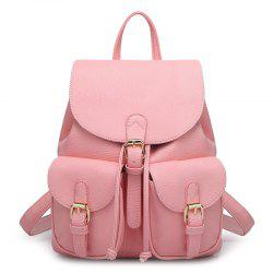 Buckles Faux Leather Backpack - PINK