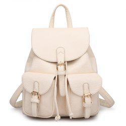 Buckles Faux Leather Backpack - OFF-WHITE