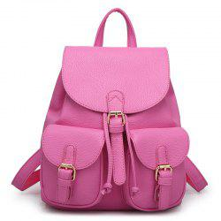 Buckles Faux Leather Backpack -