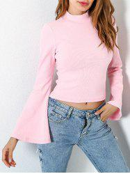 Casual Flare Sleeve Mock Neck Blouse - LIGHT PINK S