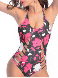 Halter Floral Strappy One Piece Swimsuit - Floral L