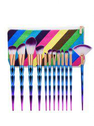 Diamond Shaped Makeup Brushes Set With Stripes Bag - MULTI