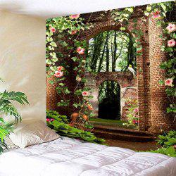 Floral Arched Door Wall Hanging Polyester Tapestry