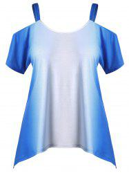 Plus Size Cold Shoulder Ombre Tee -