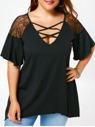 Criss Cross Drop Shoulder Plus Size Tunic T-Shirt - BLACK