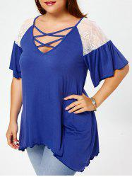 Criss Cross Drop Shoulder Plus Size Tunic T-Shirt -