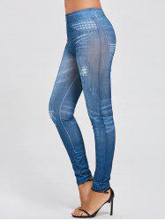 Elastic Waist Printed Slim Jeggings