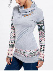 Stylish Cowl Neck Long Sleeve Button Design Women's Sweatshirt