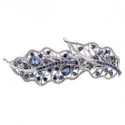 Artificial Gem Inlaid Hollow Out Leaf Barrette - PURPLISH BLUE