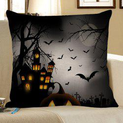 Halloween Tower Bat Printed Pillow Case -
