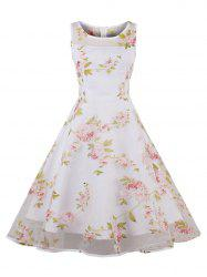 Organza Floral Print Party Skater Dress - PINK