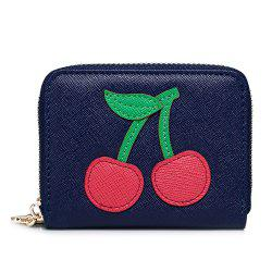 Faux Leather Cherry Pattern Small Wallet -