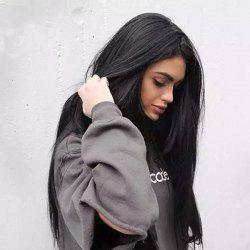 Center Parting Straight Long Synthetic Wig - BLACK 60CM
