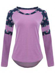 Raglan Sleeve High Low Floral T-shirt