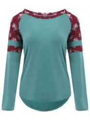 Raglan Sleeve High Low Floral T-shirt - BLACKISH GREEN 2XL