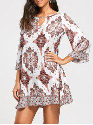 Bohemia Print Keyhole Neck Tunic Dress - COLORMIX