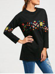 Flower Embroidered Drop Shoulder Long Sleeve T-shirt