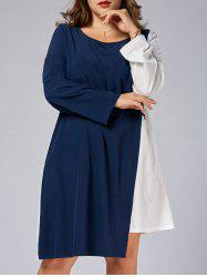 Plus Size Business Color Block Dress with Sleeves