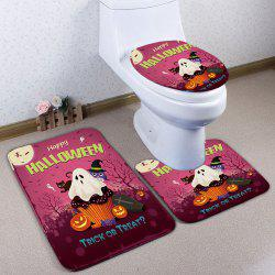 3Pcs / Set Halloween Flannel Bathroom Decor Toilette Tapis - Anko- Rouge