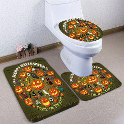 3Pcs / Set Pumpkin Halloween Flannel Bath Toilet Mat - Vert Armée