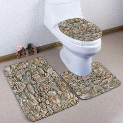 3Pcs / Set Stone Pattern Flannel Bath Toilet Tapis - Gris Ardoise