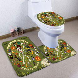 3Pcs / Set Halloween Skull Flannel Bath Toilet Mat - Vert
