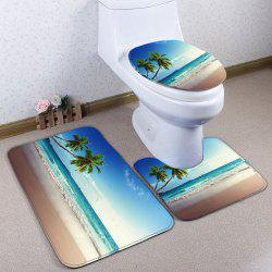 3Pcs / Set Beach Coconut Palm Flannel Bath Toilet Mat - Bleu