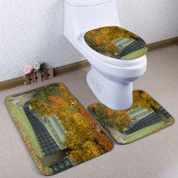 3Pcs / Set Autumn Pasture Flannel Bath Toilet Mat - Jaune