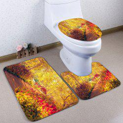 3Pcs/Set  Flannel Autumn Path Bath Toilet Rug - YELLOW