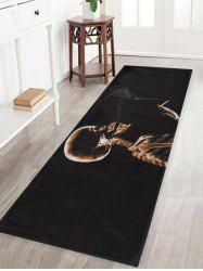 Halloween Skeleton Smoke Print Anti-skid Water Absorption Area Rug - Noir Largeur 16 pouces*Longueur 47 pouces