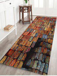 Colorful Brick Print Anti-skid Water Absorption Area Rug - BRICK-RED W24 INCH * L71 INCH