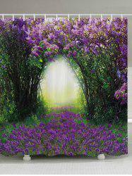 Floral Tree Hole Print Fabric Waterproof Bathroom Shower Curtain - PURPLE