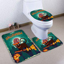 3Pcs / Set Flannel Halloween Cat Bathroom Toilet Mat - Vert