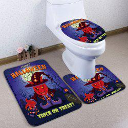 3Pcs / Set Flannel Halloween Bath Toilet Mat - Bleu Violet