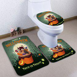 3Pcs / Set Flannel Halloween Cat Bath Toilet Tapis - Vert